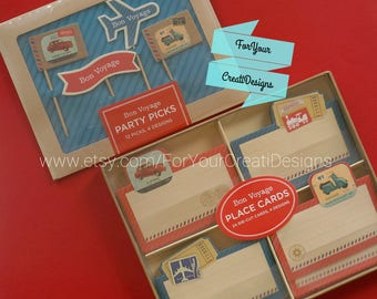 Bon Voyage 12 Party Picks and 24 Place Cards. 2 sets lot. By Galison New York