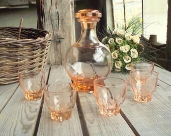 Pink Glass Set - Vintage Liquor Set - French Glassware - Small Glasses - Decanter with Lid - Set of 5 Glasses - Pink Depression Glassware