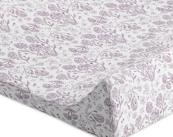 Floral Changing Pad Cover Baby Girl Changing Pad Cover Girl Lavender Nursery Lilac Change Pad