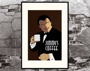 Pulp Fiction / Jimmy's Coffee / Mr Wolf - Harvey Keitel - Movie Art Poster Art Deco Art Nouveau Home Decor