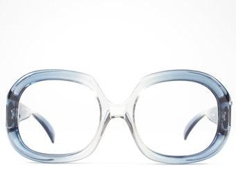 Vintage 1970s Eyeglass Frame | Clear Blue Oversized 70s Glasses | Chunky Round Eyeglass Frame - Kim