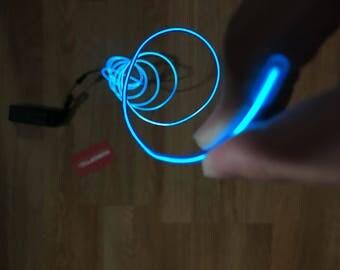 Blue EL wire 6' ft Led String for light up EL mask EL costume Light Up Robot Cyborg Masquerade Edm Cybernetic Dj Cosplay Rave