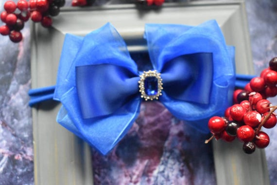 Special occasion royal blue bow headband - Baby / Toddler / Girls / Kids Headband / Hairband / Hair bow / Barrette / Hairclip