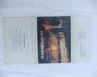 Set of 15 city postcards in original packaging  Old russian postcards  Vintage Petrodvorets city  postcards  Soviet era