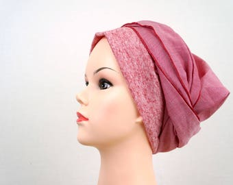 preformed summer red turban. chemo scarf. Chemo turban