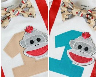Sock Monkey Birthday Outfit, Birthday Outfit, Baby Boy First Birthday Bodysuit
