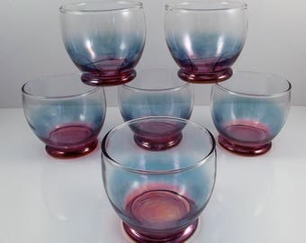 Vintage Roly Poly Glasses Footed Iridescent Set of 6