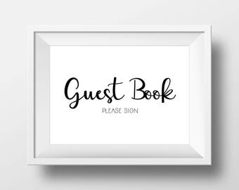 Guest Book Please Sign Printable, Wedding Guest Book, Guest Book Print, Wedding Decor Sign, Wedding Reception Decor, INSTANT