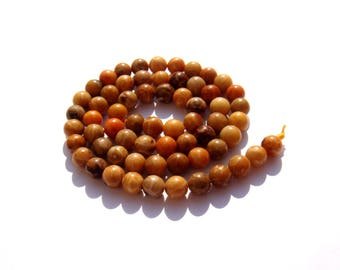 Multicolor fossil saffron coral: 5 matching 6 mm round beads