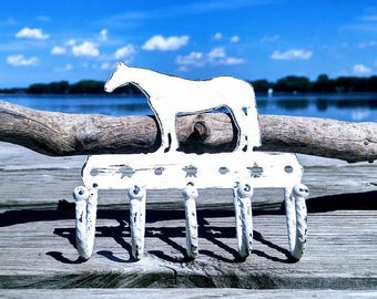 Metal Hook, Horse Hook, Key Holder, Painted White, Distressed, 5 Hook Wall Decor, Shabby Chic Home Style,