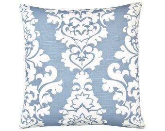 Pillow case BERLIN light blue white linen look Baroque ornament 40 x 40 cm