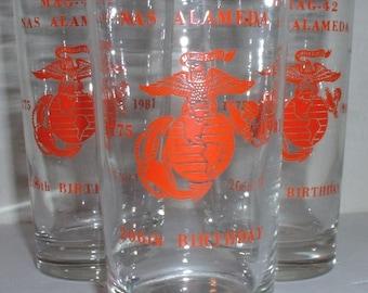 USMC US Marine Corps 206th Anniversary  (1981) MAG 42 Naval Air Station Alameda beer glass