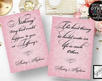 Audrey Hepburn wall art, quote print, the best thing to hold onto in life is each other - Audrey CUSTOMIZABLE QUOTES Set of 2/5x7