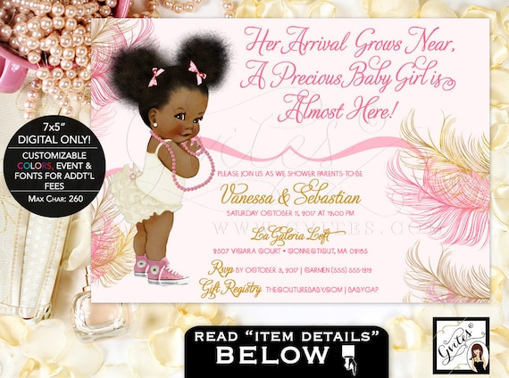 African American Baby Girl Baby Shower Invitations Pink Rose