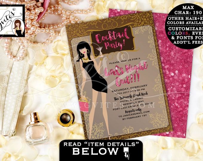 Girls Night Out Invitations, Cocktail Party. Pink and Gold, sophisticated, modern invitation glitz and glam PRINTABLE Double Sided 5x7.
