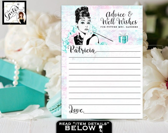 "Personalized Advice cards, and co bridal wishes for the bride, bridal games, blue Audrey Hepburn party printables, 5x7"" 2 Per/Sheet"