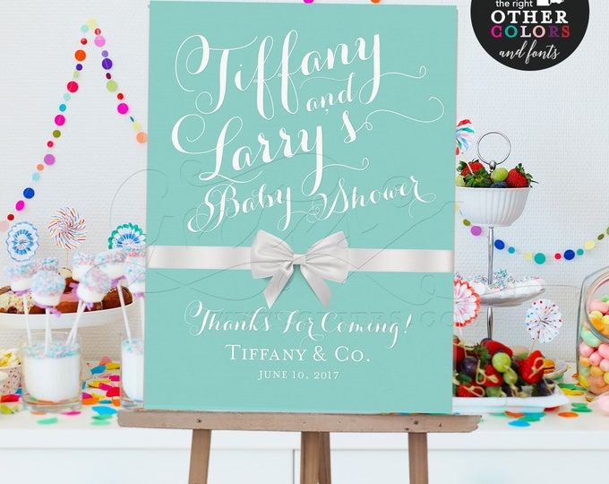 Baby and Co Welcome signs, baby shower, breakfast at and co, printable, blue poster, decorations. {Customizable Names & Date ONLY!}