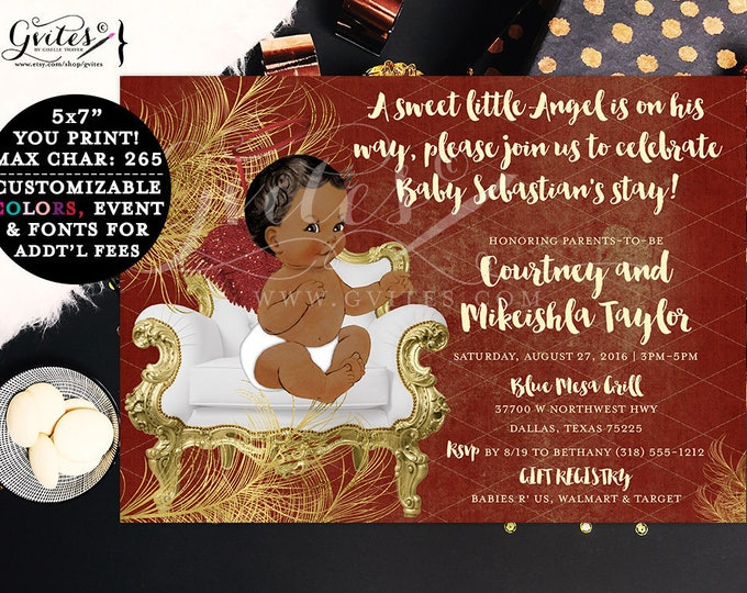Red and Gold Baby Shower Boy Invitation Angel Baby Shower, African American BOY, baby invites, ethnic sweet little angel is on his way.