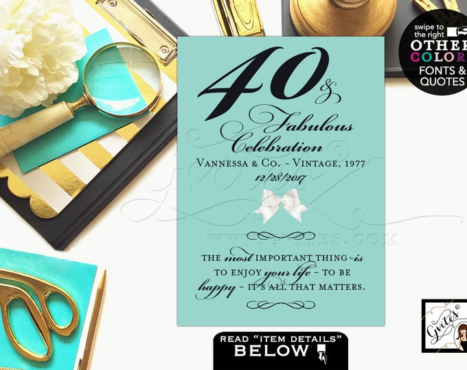 Birthday signs, 40 and fabulous, 50th birthday, 60th party quote signs, table decorations, centerpiece, Audrey quotes 4x6, 5x7 & 8x10.