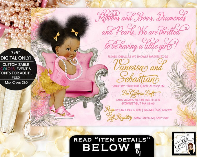 Blush Pink and Silver Baby Shower Invitation, printable baby girl invites, african american, ribbons bows diamonds pearls, DIGITAL ONLY!