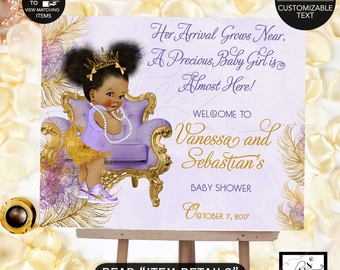 Purple and Gold Baby Shower Welcome Sign, Lavender gold princess ethnic, printable poster sign, african american. DIGITAL FILE! TIAPAC4GG