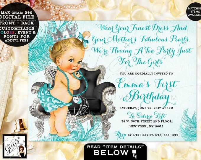 First birthday invitation, Tea Party Invitation girl diamonds and pearls, vintage princess baby girl invites, silver and blue, DIGITAL 7x5.