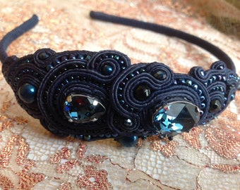 Soutache Hair Band navy color with Swarovski