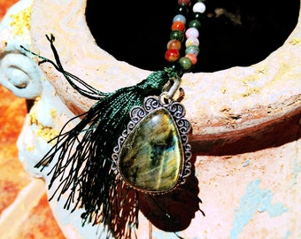 Agate Mala with Labradorite