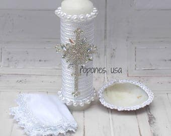 Baptism candle set /Candle set for Baptism / Candle set Hand crafted /Religious Candle set  /Christening Candle set White or Ivory Handmade