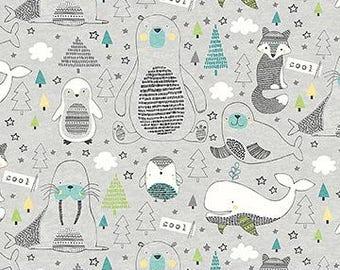 Polar Pals - gray artic animals all-over print - 100% Cotton - Kids/childrens; marine animals/penguins/polar bear/fox