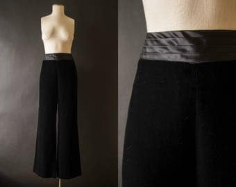 vintage 90s pants / 90s high waisted velvet tuxedo pants / medium /