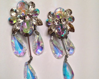 Vintage Crystal Aurora Borealis Chandelier Earrings- Beautiful Teardrop Dangles