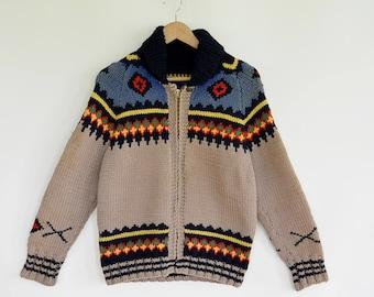 Hand Knit Wool  Cowichan Cardigan vintage Sweater Jacket 1960's Era Lamar Zipper Heavy Warm  Knit Cowichan Sweater Multi Colored Size Small