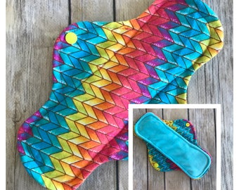 "Rainbow Chevron 10"" Velour Cloth Menstrual Pad - Mama Cloth"