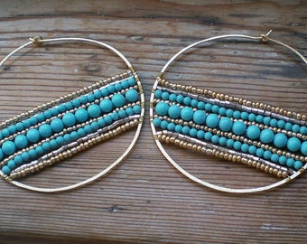 Turquoise big hoop earrings // Turquoise jewelry // big brass hoops