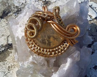 Gold Platted Wire Wrapped Pendant with Melted Quarts Stone