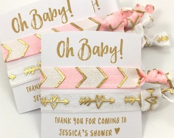 Custom Girl Baby Shower Favors | Baby Girl Shower Favors | It's A Girl |  Light Pink and Gold Chevron Hair Tie Party Favors | Oh Baby Favor