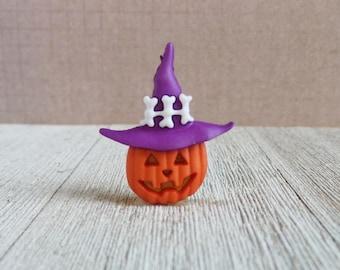 Halloween Lapel Pin - Jack O Lantern Lapel Pin- Tie Tack or Lapel Pin
