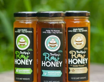 Raw Honey - Specialty 3-Pack Variety with FREE SHIPPING! Enjoy different flavors of unfiltered honey by Bee Kings