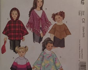 McCalls Pattern 4962 Childrens Poncho UNCUT Size XS-S