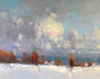 Winter Time, Landscape oil Painting, large size painting, Ready to hang, One of a kind