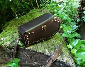 Leather coffin bag, coffin shaped handbag, gothic coffin bag, brown leather bag, gothic handbag, purple velvet, steampunk bag, steampunk