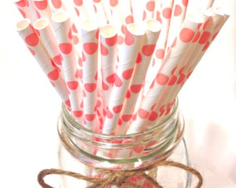 25 Light Pink Polka Dot paper straws / baby bridal shower decorations / candy dessert buffet table / wedding / First birthday/new year party