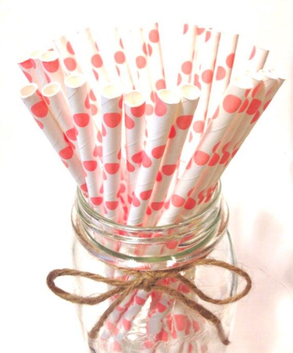 25 light pink polka dot paper straws baby bridal shower for Pink polka dot decorations