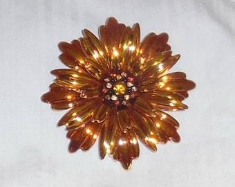Joan Rivers Large Orange Flower Pin