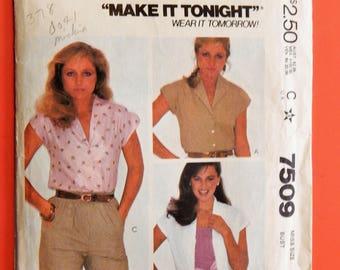 Vintage blouse pattern McCall's 7509 Make It Tonight Wear It Tomorrow front button blouse pattern Size 10