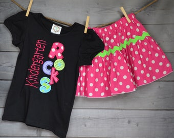 Personalized Kindergarten Rocks Applique Shirt or Onesie Girl or Boy
