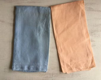 Two Vintage Linen Guest Hand Towels, Blue & Peach Color
