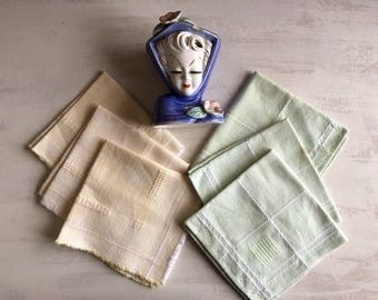 6 Vintage Yellow and Light Green Luncheon Napkins
