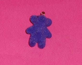 X 1 Teddy bear kawaii purple soft 37mm